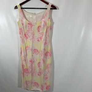 Escada Dress Shift Sleeveless Floral 100% Silk